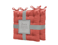 Bathroom and More Set of Two (2) Soft Reversible Tufted Chair Pads Cushions with tie Backs for Kitchen Living Room Office Dining Room: Size 16in X16in (Burnt Orange)