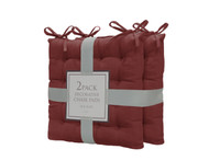Bathroom and More Set of Two (2) Soft Reversible Tufted Chair Pads Cushions with tie Backs for Kitchen Living Room Office Dining Room: Size 16in X16in (Burgundy)