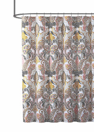 VCNY Home Fabric Shower Curtain: Bold Colorful Paisley Leaf Design in Butterfly Composition