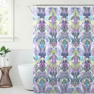 VCNY Home Fabric Shower Curtain: Blue Purple Bright Paisley Leaf Design in Butterfly Composition