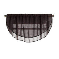 Sheer Voile Valance Curtain for Windows Size 54 in X 24 in Scalloped with Ribbon for Kitchens, Living Room, Dining Room, Bathroom, Bay Windows, Basement, Laundry Room (Black)