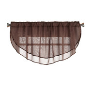Sheer Voile Valance Curtain for Windows Size 54 in X 24 in Scalloped with Ribbon for Kitchens, Living Room, Dining Room, Bathroom, Bay Windows, Basement, Laundry Room (Chocolate Brown)