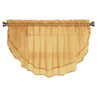 Sheer Voile Valance Curtain for Windows Size 54 in X 24 in Scalloped with Ribbon for Kitchens, Living Room, Dining Room, Bathroom, Bay Windows, Basement, Laundry Room (Gold)