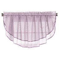Sheer Voile Valance Curtain for Windows Size 54 in X 24 in Scalloped with Ribbon for Kitchens, Living Room, Dining Room, Bathroom, Bay Windows, Basement, Laundry Room (Lilac)