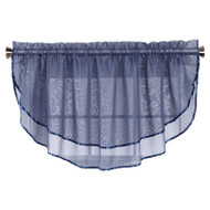 Sheer Voile Valance Curtain for Windows Size 54 in X 24 in Scalloped with Ribbon for Kitchens, Living Room, Dining Room, Bathroom, Bay Windows, Basement, Laundry Room (Navy)