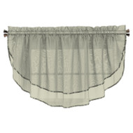 Sheer Voile Valance Curtain for Windows Size 54 in X 24 in Scalloped with Ribbon for Kitchens, Living Room, Dining Room, Bathroom, Bay Windows, Basement, Laundry Room (Silver)