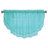 Sheer Voile Valance Curtain for Windows Size 54 in X 24 in Scalloped with Ribbon for Kitchens, Living Room, Dining Room, Bathroom, Bay Windows, Basement, Laundry Room (Turquoise Blue)