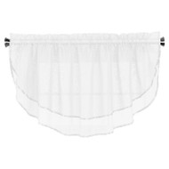 Sheer Voile Valance Curtain for Windows Size 54 in X 24 in Scalloped with Ribbon for Kitchens, Living Room, Dining Room, Bathroom, Bay Windows, Basement, Laundry Room (White)