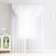 4 Piece Sheer Window Curtain Set for Living Room, Dining Room, Bay Windows: 2 Voile Valance Curtains and 2 Panels 84 in Long (White)