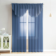 4 Piece Sheer Window Curtain Set for Living Room, Dining Room, Bay Windows: 2 Voile Valance Curtains and 2 Panels 84 in Long (Navy)
