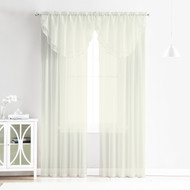 4 Piece Sheer Window Curtain Set for Living Room, Dining Room, Bay Windows: 2 Voile Valance Curtains and 2 Panels 84 in Long (Beige)