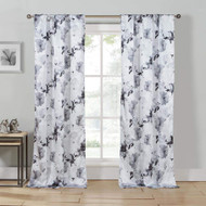 Gray, White, Black 2 Piece Floral Pole Top Window Curtain Drapes For Bedroom, Livingroom, Kids Room, Children, Nursery - Set of 2 Panels 84L
