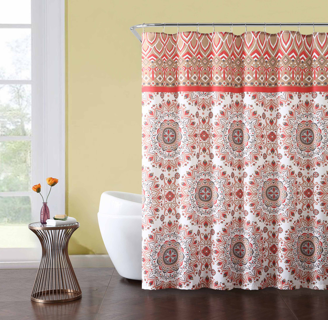 Fabric Shower Curtain White Coral Gray Red Medallion Design Includes Set Of Roller Ball Hooks 72in X72 In