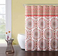 Fabric Shower Curtain White Coral Gray Red Medallion Design: Includes Set of Roller Ball Hooks 72IN x72 IN