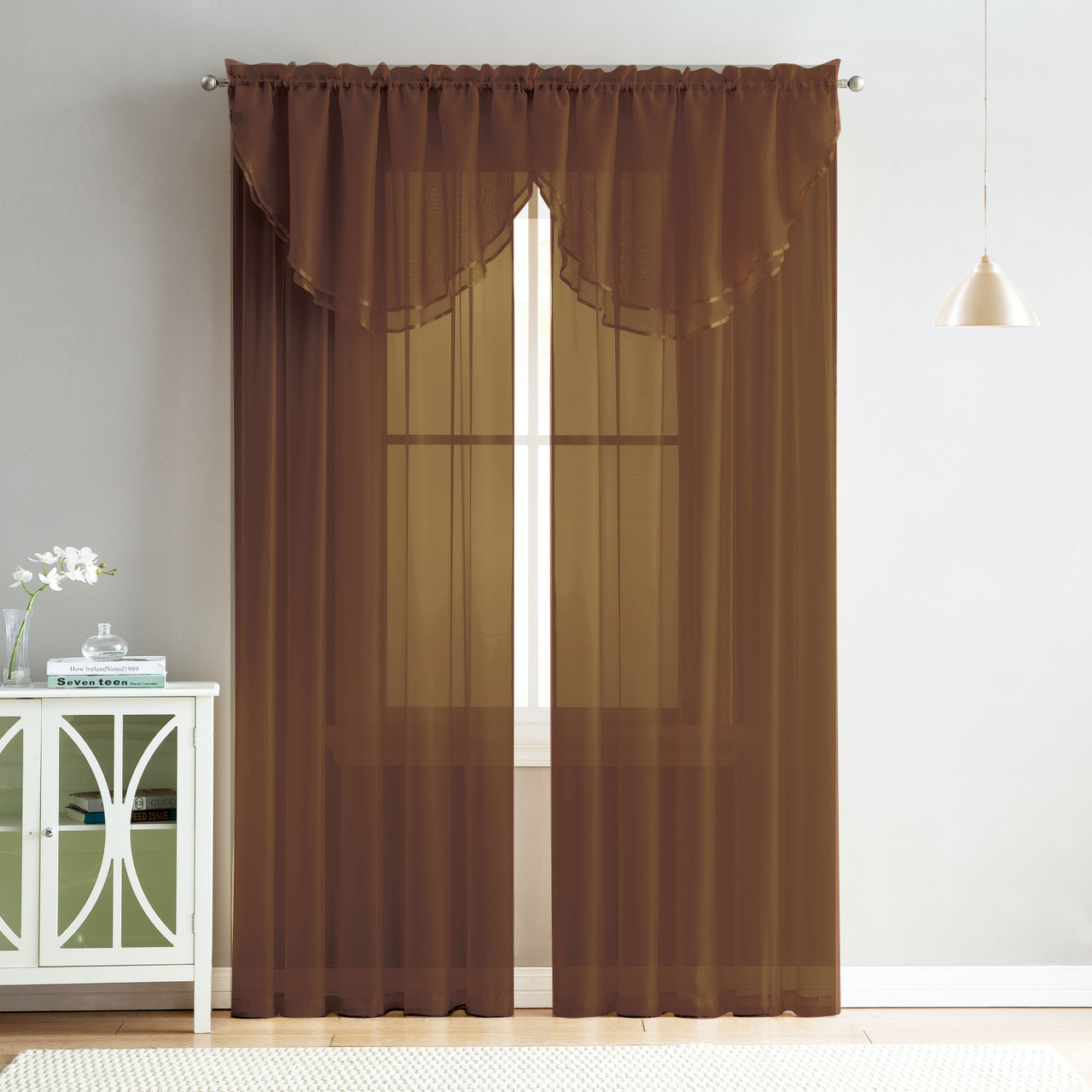 4 Piece Sheer Window Curtain Set For Living Room Dining Room Bay Windows 2 Voile Valance Curtains And 2 Panels 84 In Long Chocolate Brown