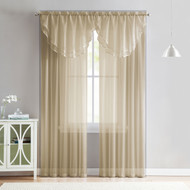 4 Piece Sheer Window Curtain Set for Living Room, Dining Room, Bay Windows: 2 Voile Valance Curtains and 2 Panels 84 in Long (Taupe)