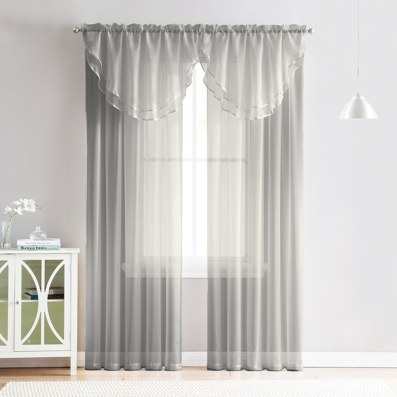 4 Piece Sheer Window Curtain Set for Living Room, Dining Room, Bay Windows:  2 Voile Valance Curtains and 2 Panels 90 in Long (Silver)