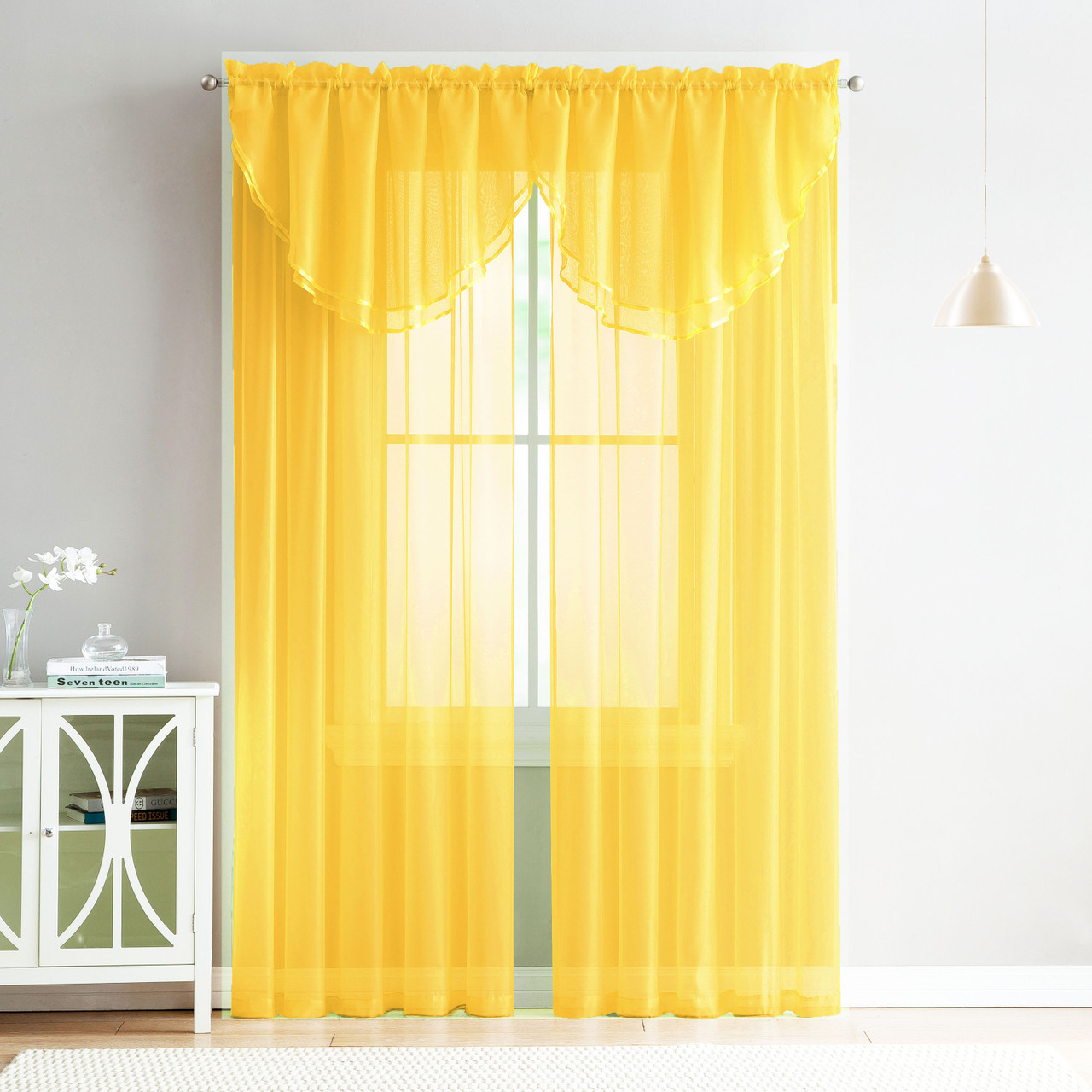 4 Piece Sheer Window Curtain Set for Living Room, Dining Room, Bay Windows:  2 Voile Valance Curtains and 2 Panels 90 in Long (Yellow)