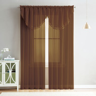4 Piece Sheer Window Curtain Set for Living Room, Dining Room, Bay Windows: 2 Voile Valance Curtains and 2 Panels 90 in Long (Chocolate Brown)