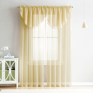 4 Piece Sheer Window Curtain Set for Living Room, Dining Room, Bay Windows: 2 Voile Valance Curtains and 2 Panels 90 in Long (Gold)