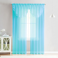 4 Piece Sheer Window Curtain Set for Living Room, Dining Room, Bay Windows: 2 Voile Valance Curtains and 2 Panels 90 in Long (Turquoise)