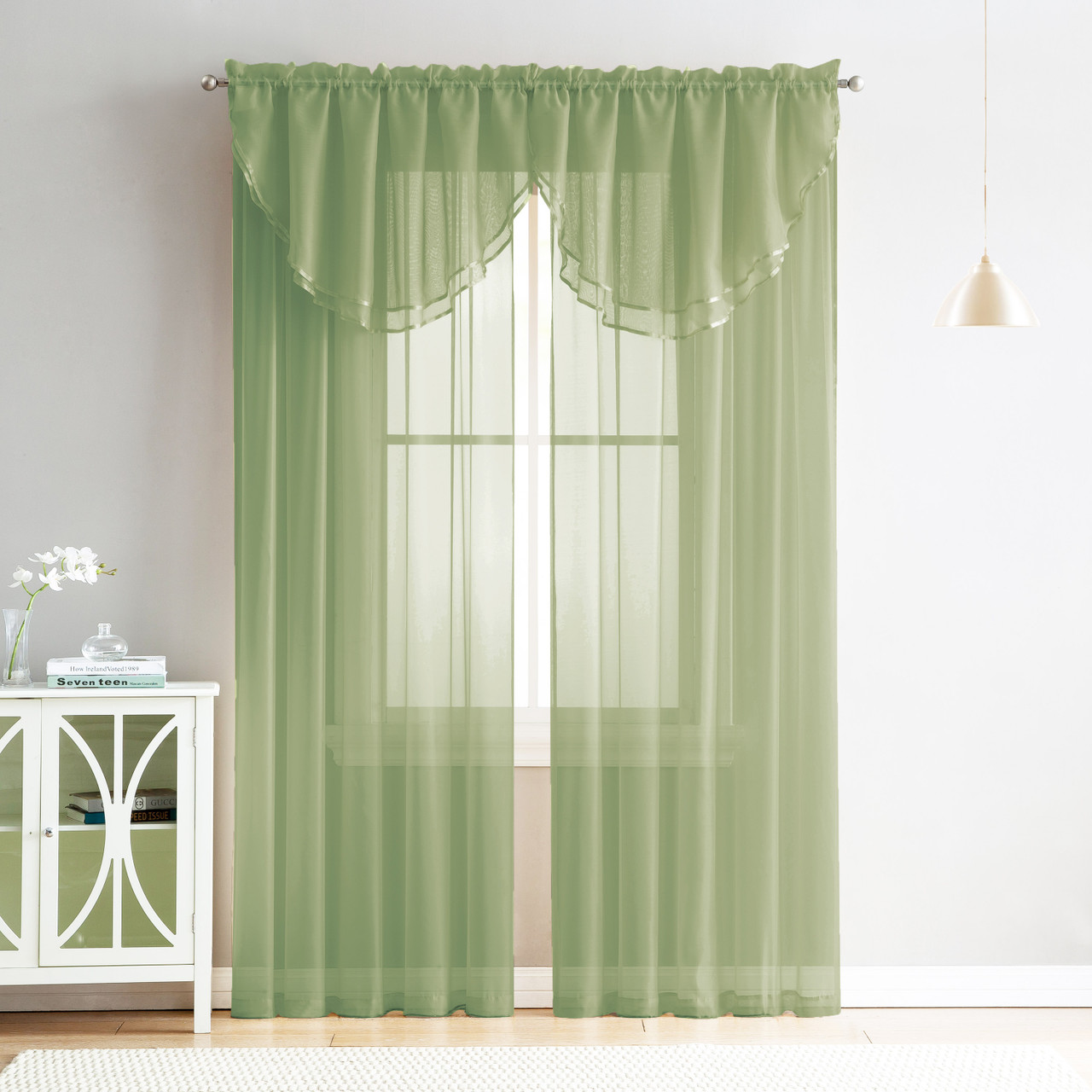 4 Piece Sheer Window Curtain Set for Living Room, Dining Room, Bay Windows:  2 Voile Valance Curtains and 2 Panels 90 in Long (Sage Greem)
