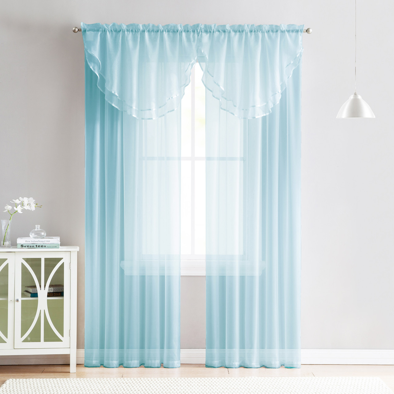 4 Piece Sheer Window Curtain Set For Living Room Dining Room Bay Windows 2 Voile Valance Curtains And 2 Panels 90 In Long Blue