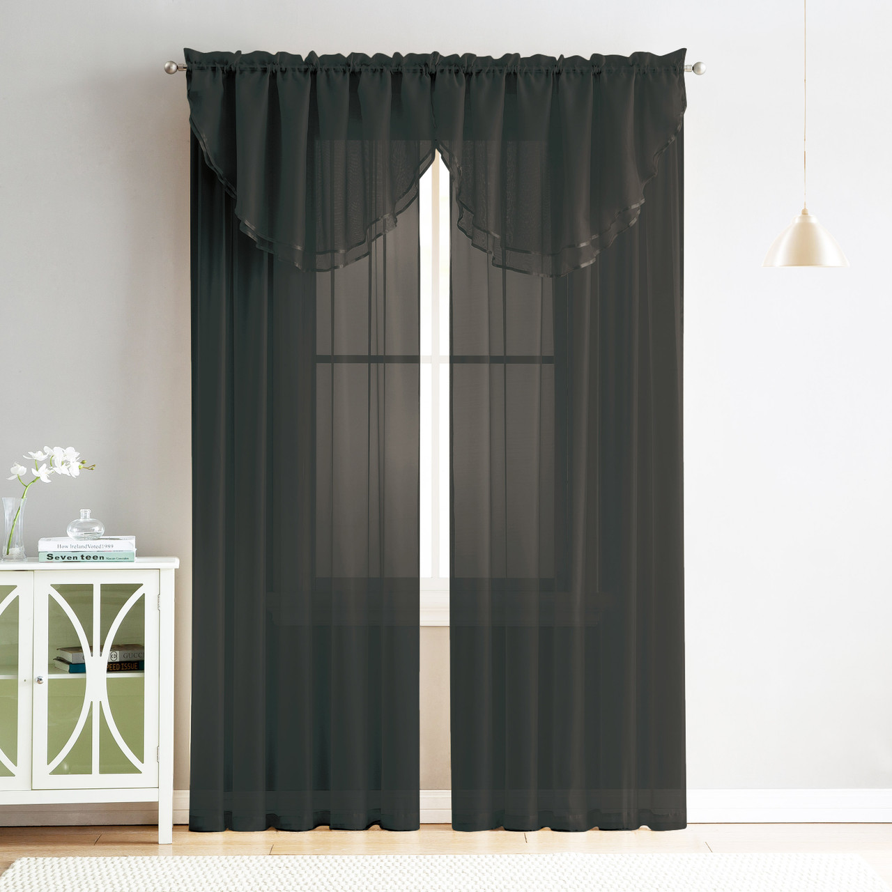 4 Piece Sheer Window Curtain Set For Living Room Dining Room Bay Windows 2 Voile Valance Curtains And 2 Panels 90 In Long Black