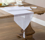 Home Maison White Sheer Table Runner with Stripe Design and Tassels