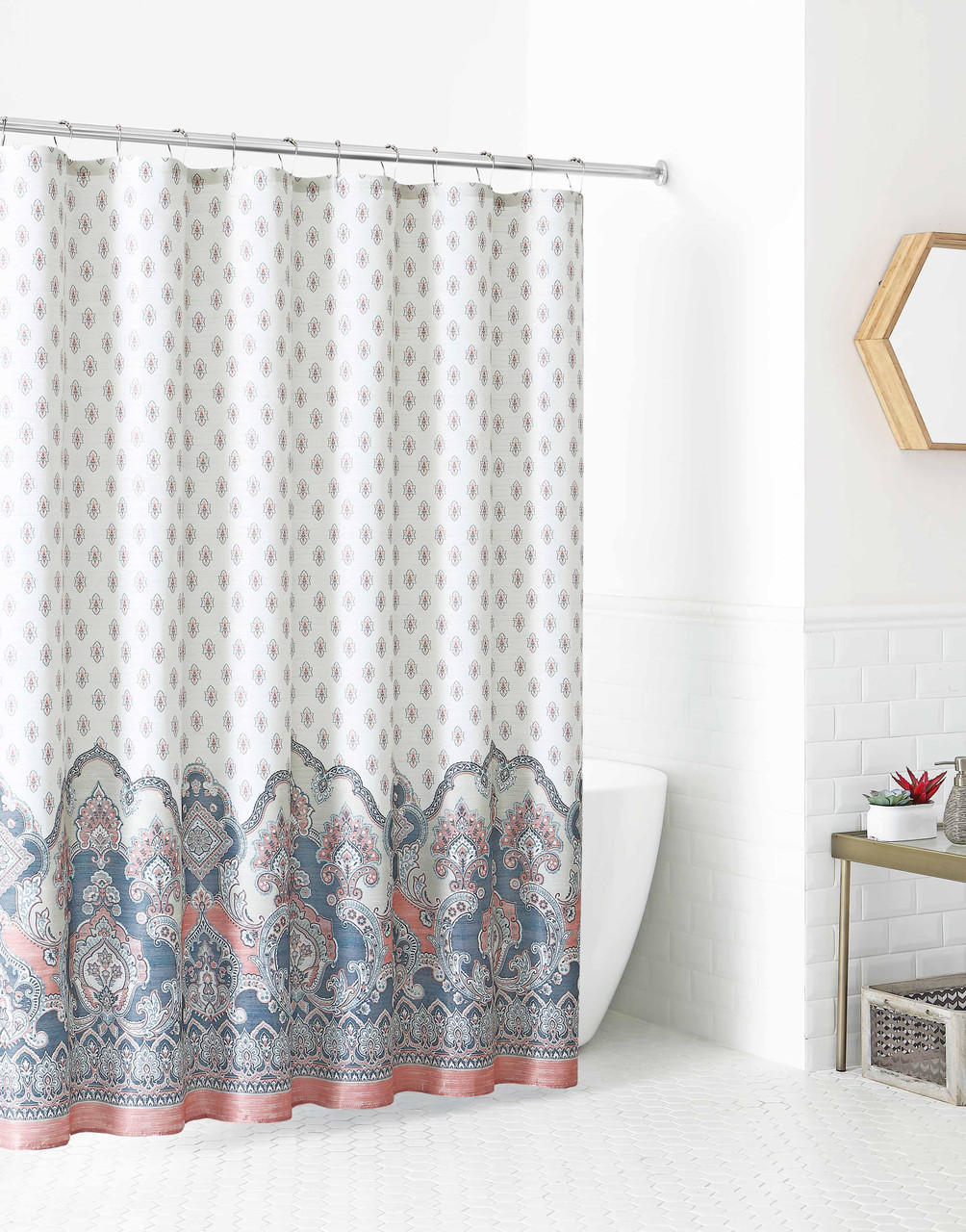 Fabric Shower Curtain For Bathroom Ivory With Coral And Slate Floral Design 72 X 72