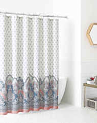 """Fabric Shower Curtain for Bathroom: Ivory with Coral and Slate Floral Design 72"""" x 72"""""""