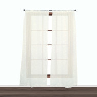 Set of Two (2) Off-White Embroidered Floral Pole Top Window Curtains for Living Room, Dining Room & Bedroom 84 Inch Long
