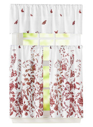 "Bathroom and More 3 Piece Window Curtain Set Floral Design, One Valance, Two Tiers (Burgundy, 24"" Tier)"