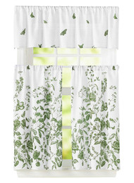 "Bathroom and More 3 Piece Window Curtain Set Floral Design, One Valance, Two Tiers (Sage Green, 24"" Tier)"
