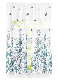 "Bathroom and More 3 Piece Window Curtain Set Floral Design, One Valance, Two Tiers (Teal Blue, 24"" Tier)"