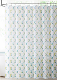 White Teal Blue and Green Moroccan Tile Design PEVA Shower Curtain Liner Odorless, PVC and Chlorine Free, Biodegradable, Mildew Free, Eco-Friendly Size 72in x 72in