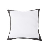 Kensie Home Collection Single (1) 100% Cotton White with Black Mocha Border Euro/Square Size Pillow Sham 26in x 26in