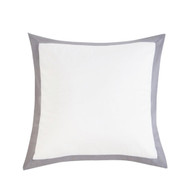 Kensie Home Collection Single (1) 100% Cotton White with Silver Gray Border Euro/Square Size Pillow Sham 26in x 26in