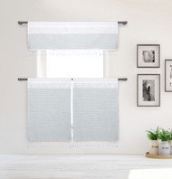 White and Gray Stripe Design 3 Piece Window Curtain Set with Tassels, One Valance, Two Tiers 36 IN Long, Cotton