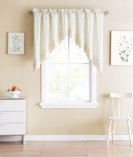 Shabby Chic Ivory 2 Piece Swag Window Curtain Set with Floral Doily Die Cut Out Design, 100% Cotton