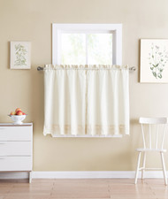 Shabby Chic Ivory 2 Piece Window Curtain Cafe Tier Set with Floral Doily Die Cut Out Design, Two Tiers 24 IN Long, 100% Cotton