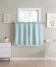 Shabby Chic Blue 2 Piece Window Curtain Cafe Tier Set with Floral Doily Die Cut Out Design, Two Tiers 24 IN Long, 100% Cotton