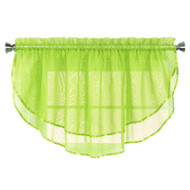 Sheer Voile Valance Curtain for Windows Size 54 in X 24 in Scalloped with Ribbon for Kitchens, Living Room, Dining Room, Bathroom, Bay Windows, Basement, Laundry Room (Lime Green)