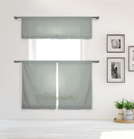 Shabby Chic Gray 3 Piece Window Curtain Set with Gray Pleated Ruffles, One Valance, Two Tiers 36 IN Long, 100% Cotton (Gray)