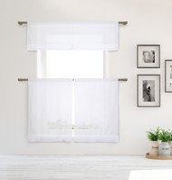 Shabby Chic White 3 Piece Window Curtain Set with White Pleated Ruffles, One Valance, Two Tiers 36 IN Long, 100% Cotton (White)