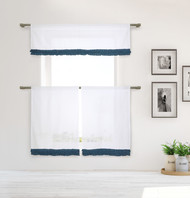 Shabby Chic White 3 Piece Window Curtain Set with Navy Ruffles, One Valance, Two Tiers 36 IN Long, 100% Cotton (White)