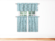 3 PC Blue Kitchen Window Curtain Set with Silver Metallic Pineapple Design 1 Valance 2 Tiers 36 IN Long
