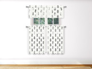 3 PC White Kitchen Window Curtain Set with Silver Metallic Pineapple Design 1 Valance 2 Tiers 36 IN Long (White)
