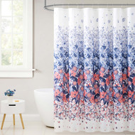 Fabric Shower Curtain for Bathroom White with Navy and Orange Coral Floral Design 72IN x72 IN