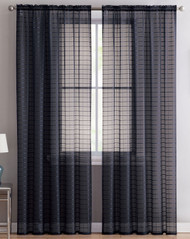 "Victoria Classics Home Set of Two (2) Black Sheer Rod Pocket Window Curtain Panels: 84"" L, Plaid/Check Design"